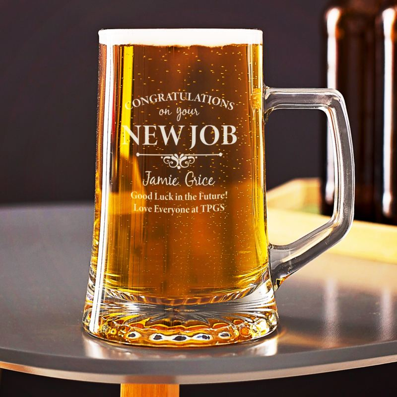 Engraved New Job Beer Tankard product image