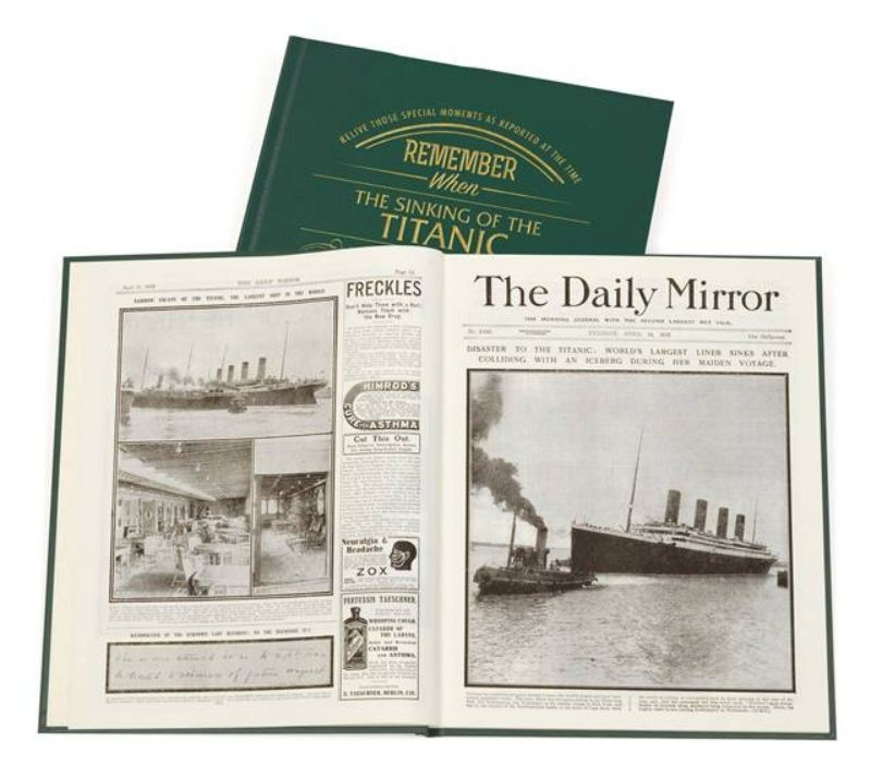 Newspaper Titanic Book -  Leatherette Cover product image