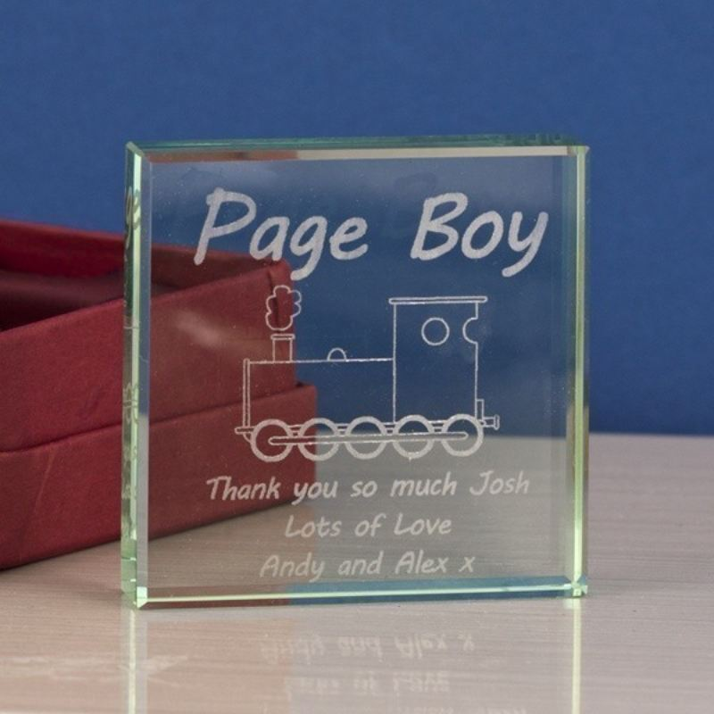 Page Boy Square Glass Keepsake product image