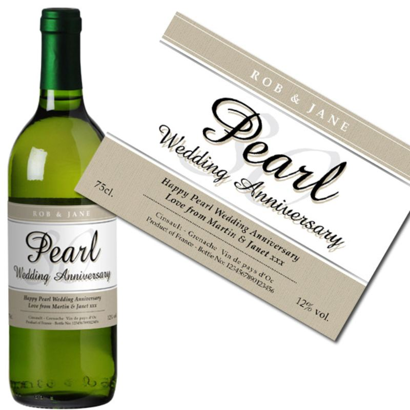 Personalised Pearl Wedding Anniversary White Wine product image