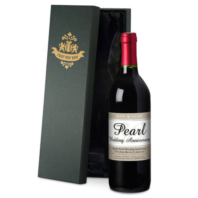 Personalised Pearl Wedding Anniversary Red Wine product image