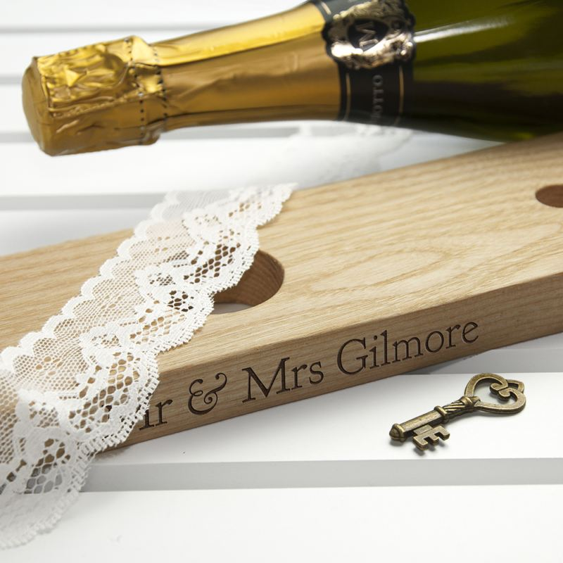 Personalised Welsh Ash Wooden Champagne Holder product image