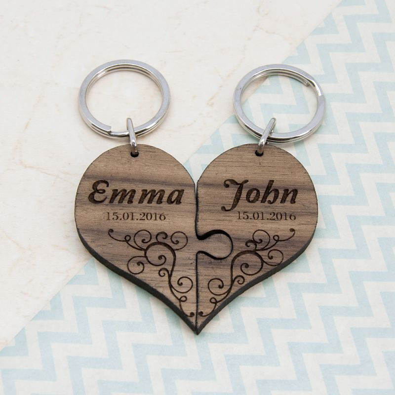Couples' Romantic Joining Heart Personalised Keyring product image