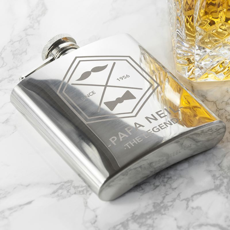 Engraved Legend Dad's Silver Hip Flask product image