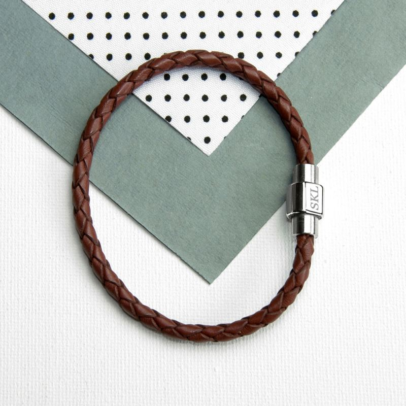 Personalised Men's Woven Leather Bracelet in Burnt Sienna product image