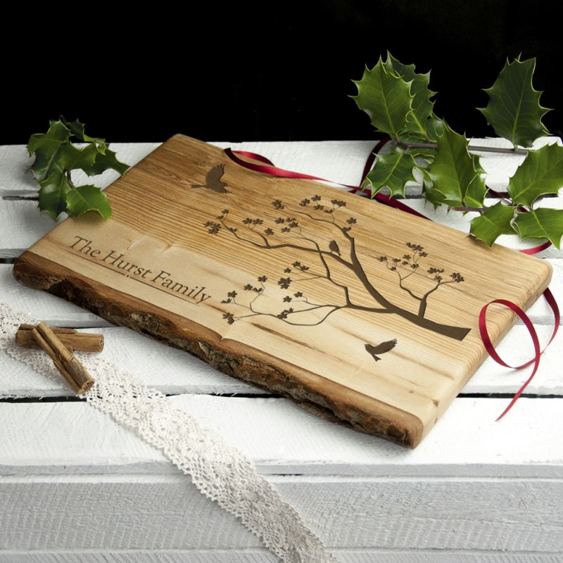 Personalised Family Tree Rustic Wood Serving Board product image