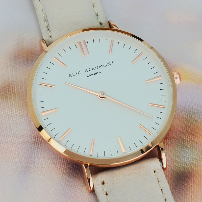 Modern - Vintage Personalised Leather Watch in Stone product image