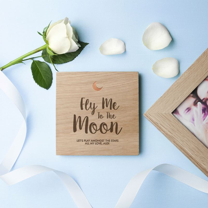 Engraved Fly Me To The Moon Oak Photo Cube product image