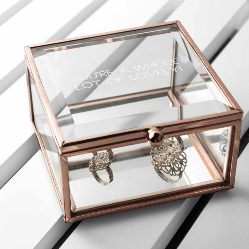 Personalised Rose Gold Glass Trinket Box product image