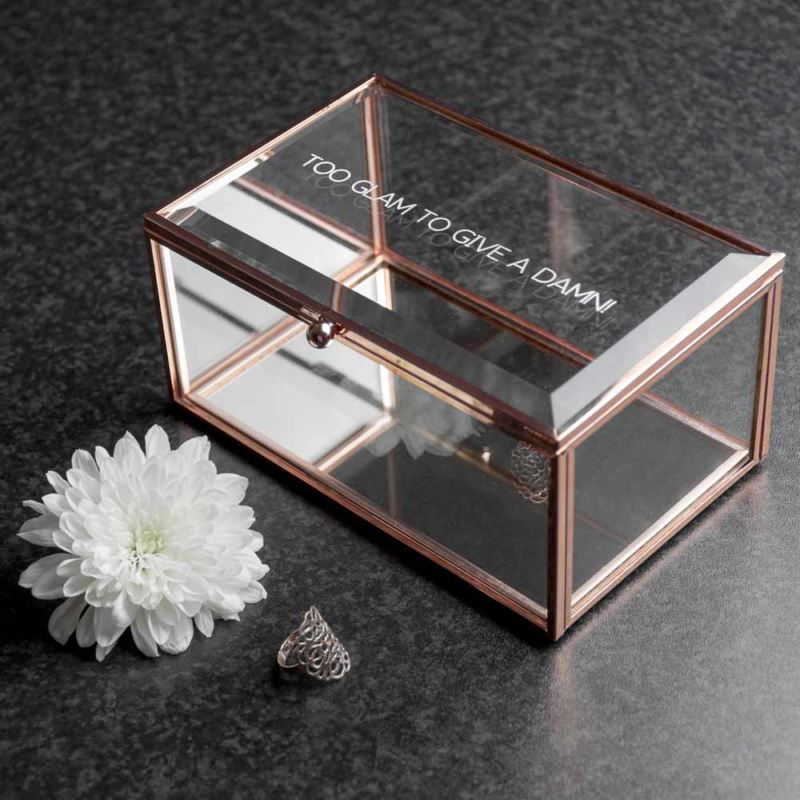 Personalised Rose Gold Glass Jewellery Box product image