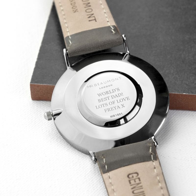 Men's Modern-Vintage Personalised Leather Watch In Ash product image