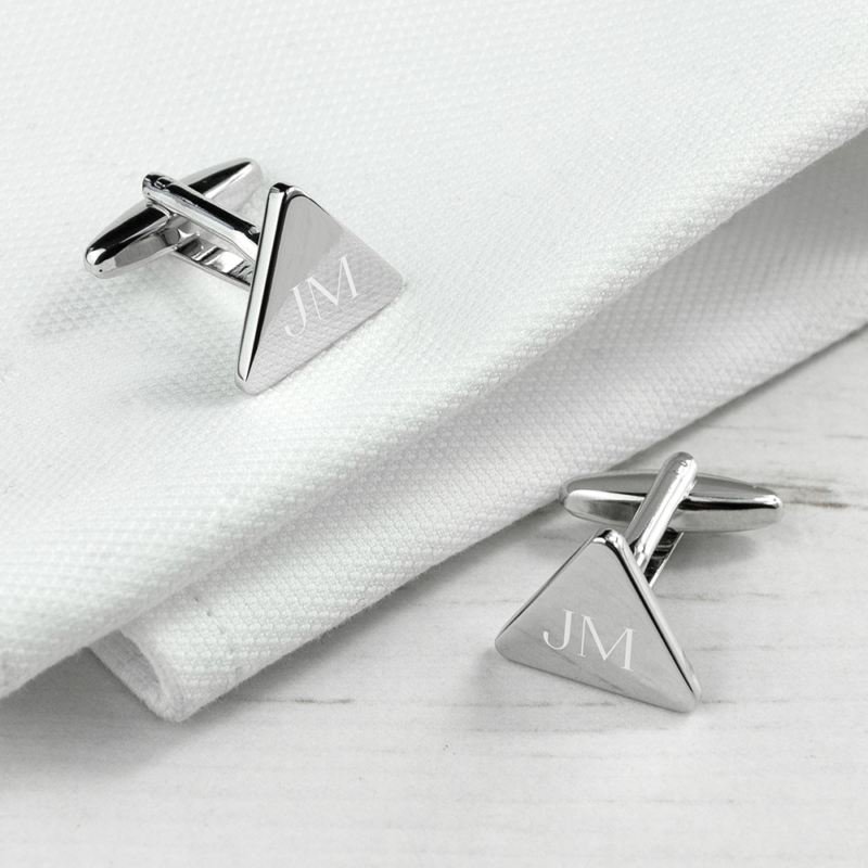 Personalised Rhodium Plated Triangle Cufflinks product image