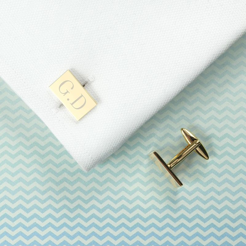 Personalised Rectangle Gold Plated Cufflinks product image