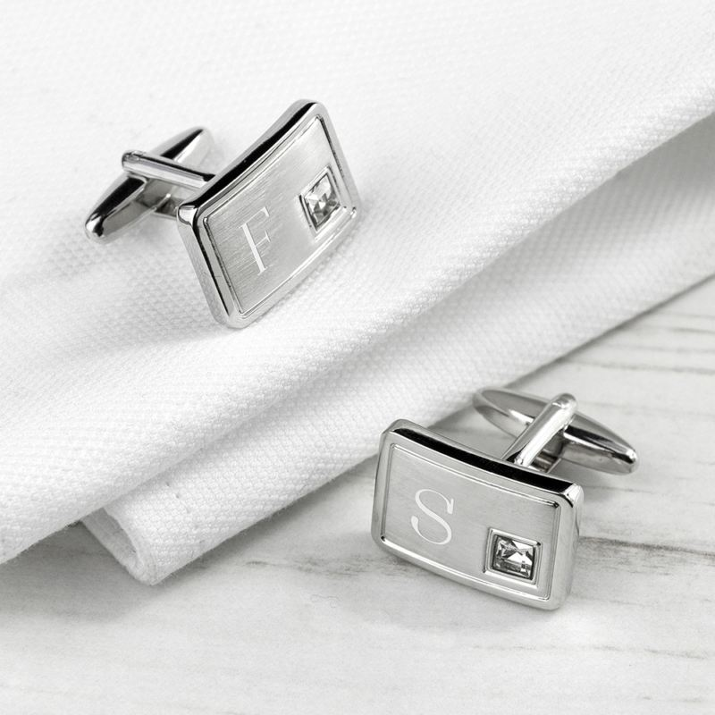 Personalised Brushed Silver Cufflinks With Crystal product image