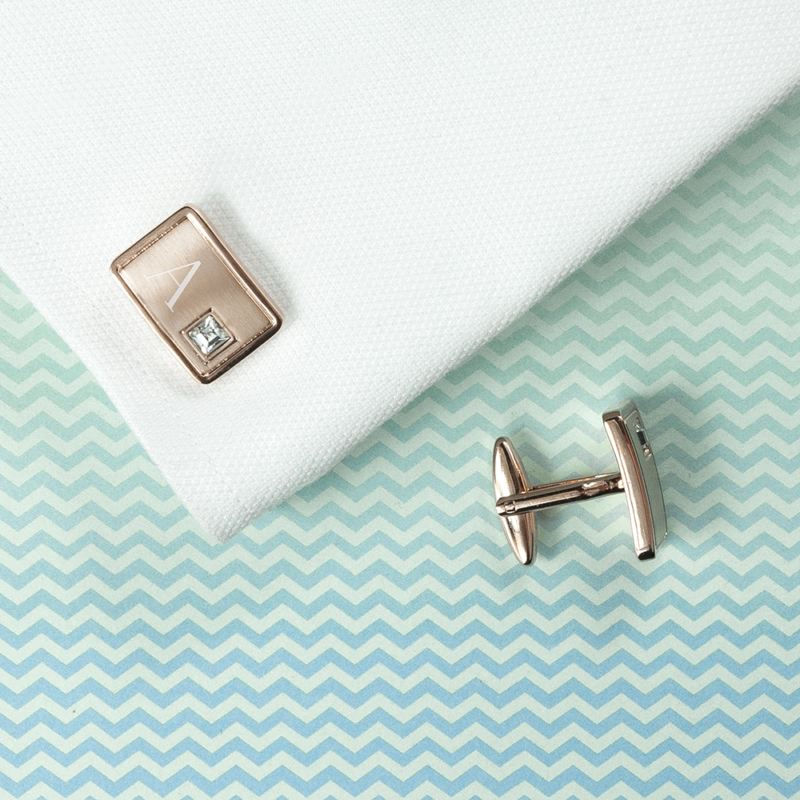 Personalised Rose Gold Plated Cufflinks With Crystal product image