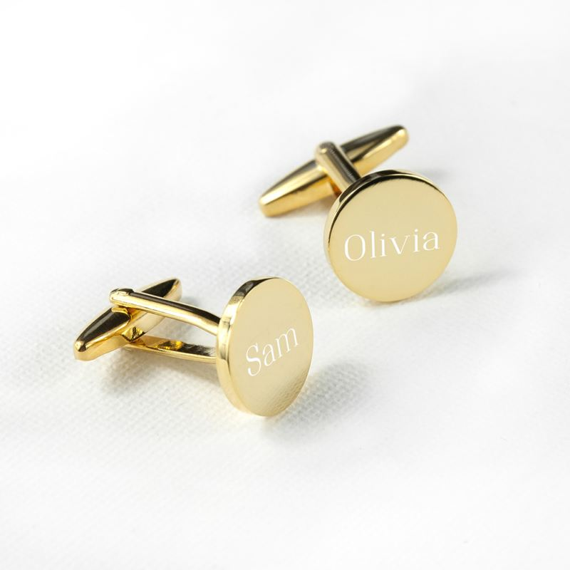 Personalised Round Gold Plated Cufflinks product image
