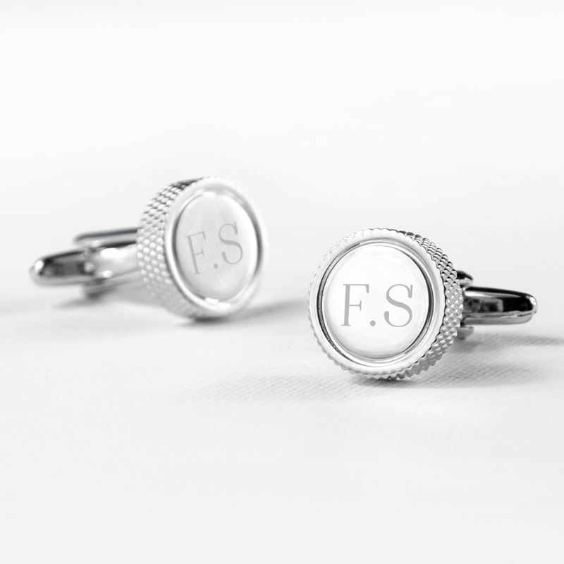 Personalised Round Rhodium Plated Cufflinks product image