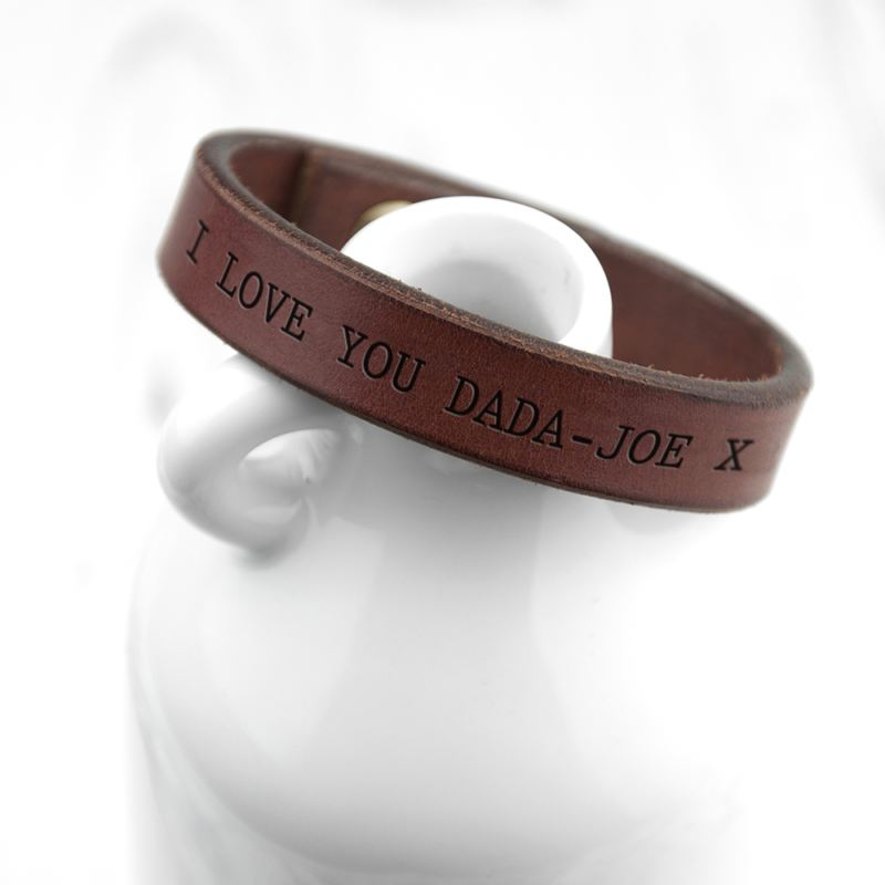 Personalised Men's Brown Leather Bracelet product image