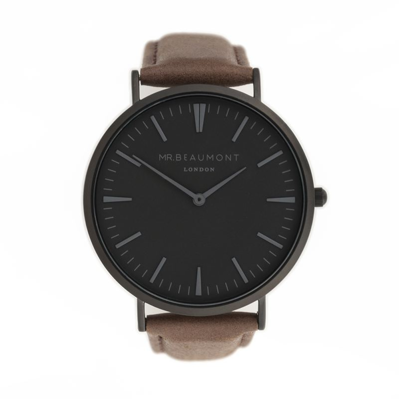 Men's Modern-Vintage Personalised Watch With Black Face in Brown product image