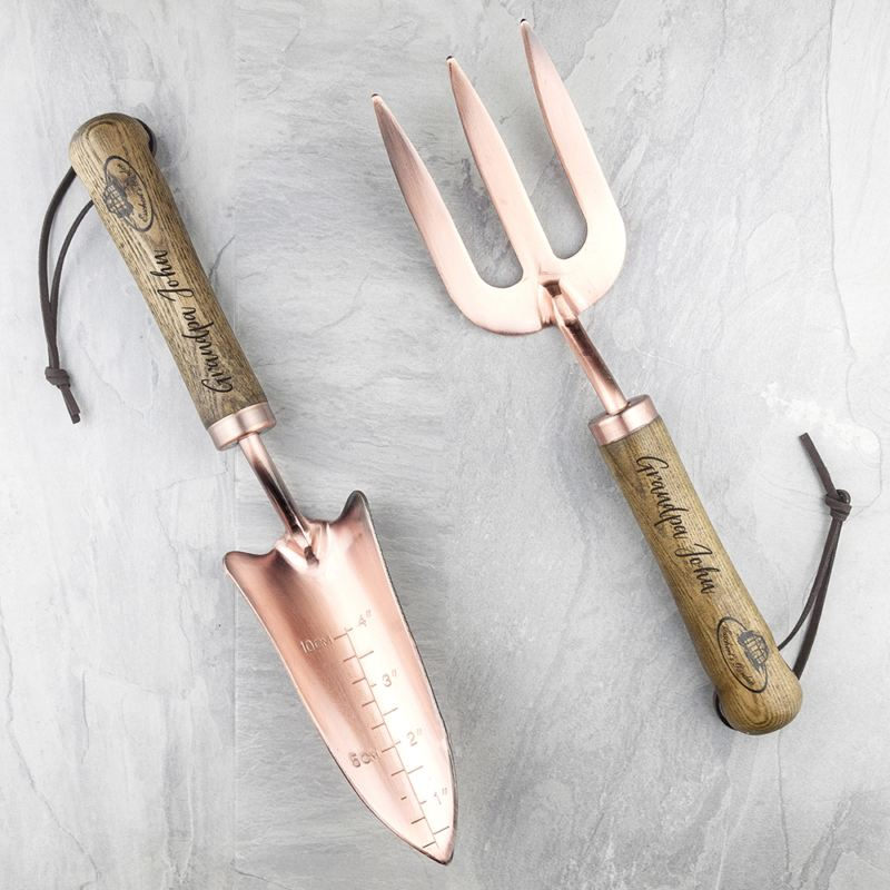 Personalised Luxe Copper Trowel and Fork Set product image