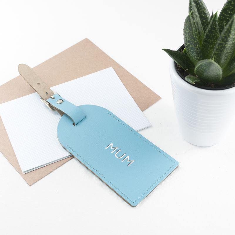 Personalised Pastel Blue Foiled Leather Luggage Tag product image