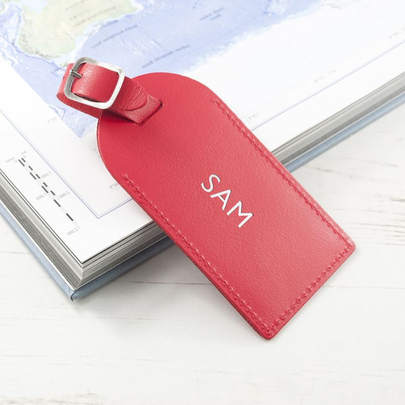Personalised Red Foiled Leather Luggage Tag product image