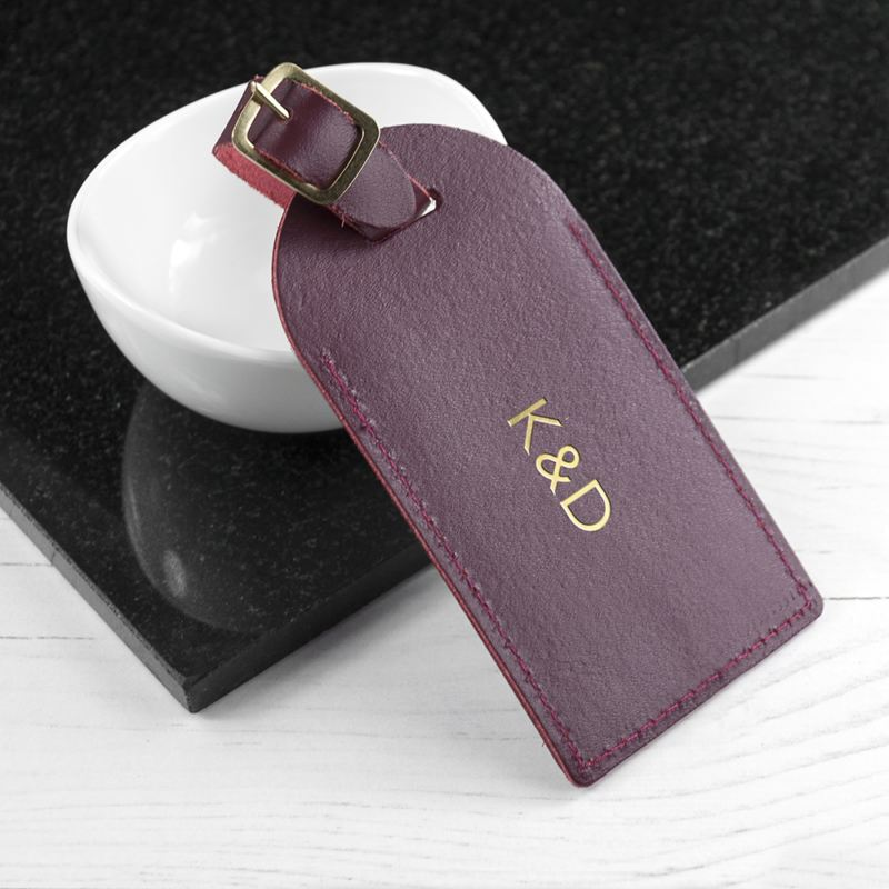Personalised Burgundy Foiled Leather Luggage Tag product image