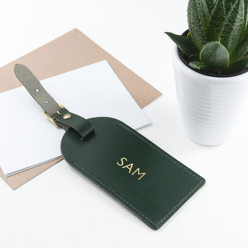 Personalised Dark Green Foiled Leather Luggage Tag product image