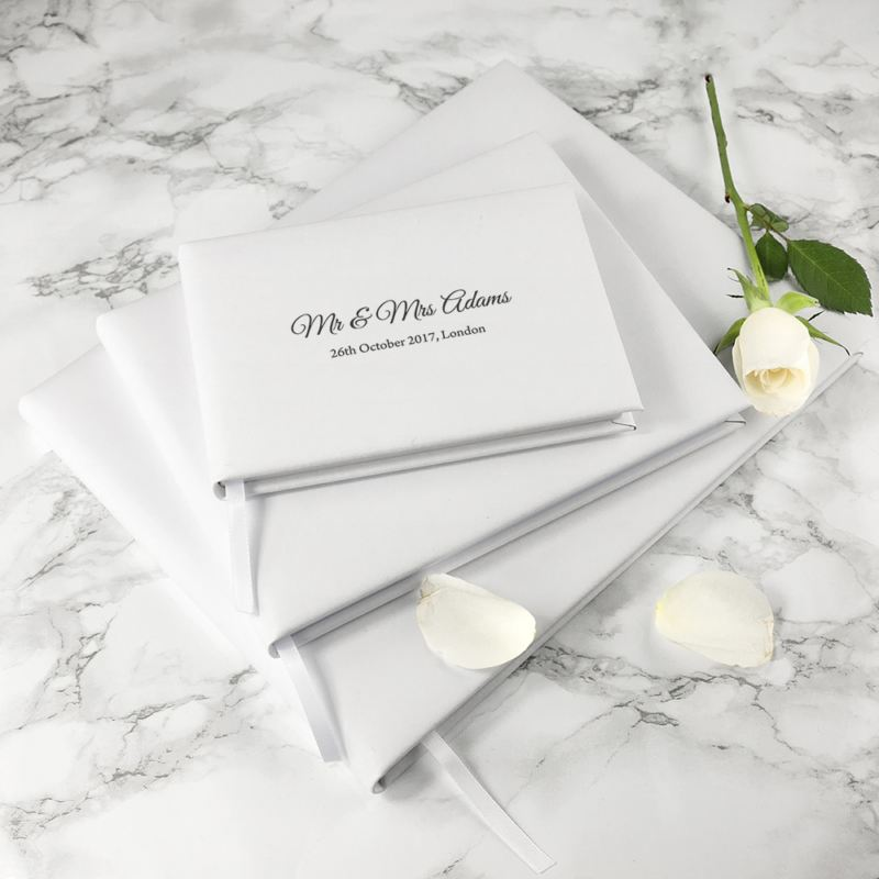 Engraved White Leather Wedding Guest Book product image