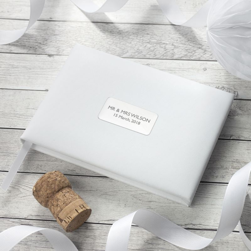 Personalised White Leather Wedding Guest Book product image
