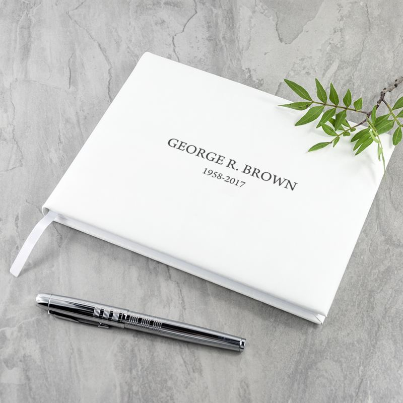 Engraved White Leather Memoriam Book product image