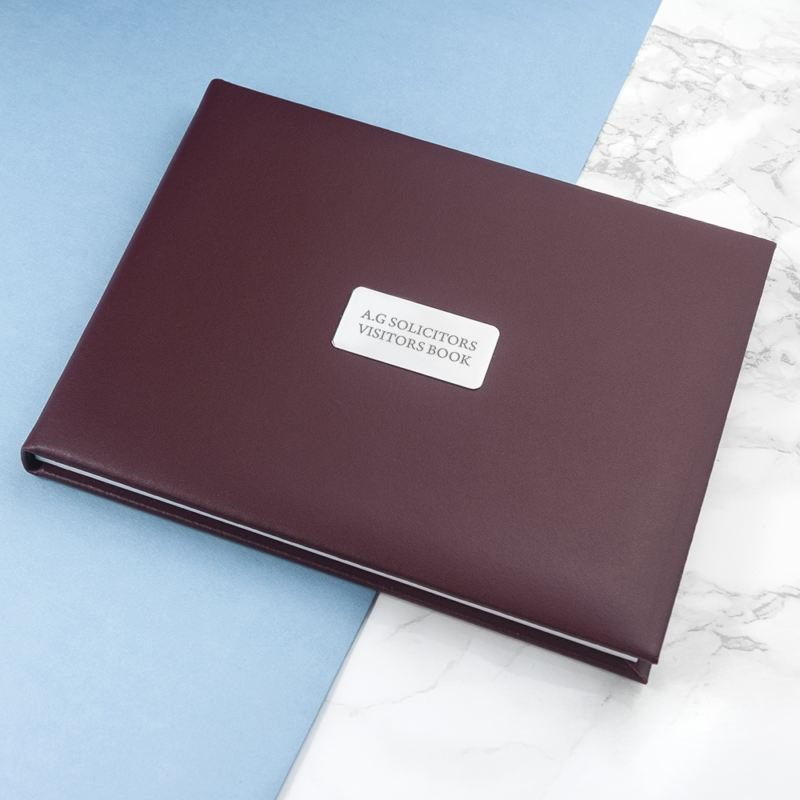 Personalised Burgundy Leather Visitors Book product image