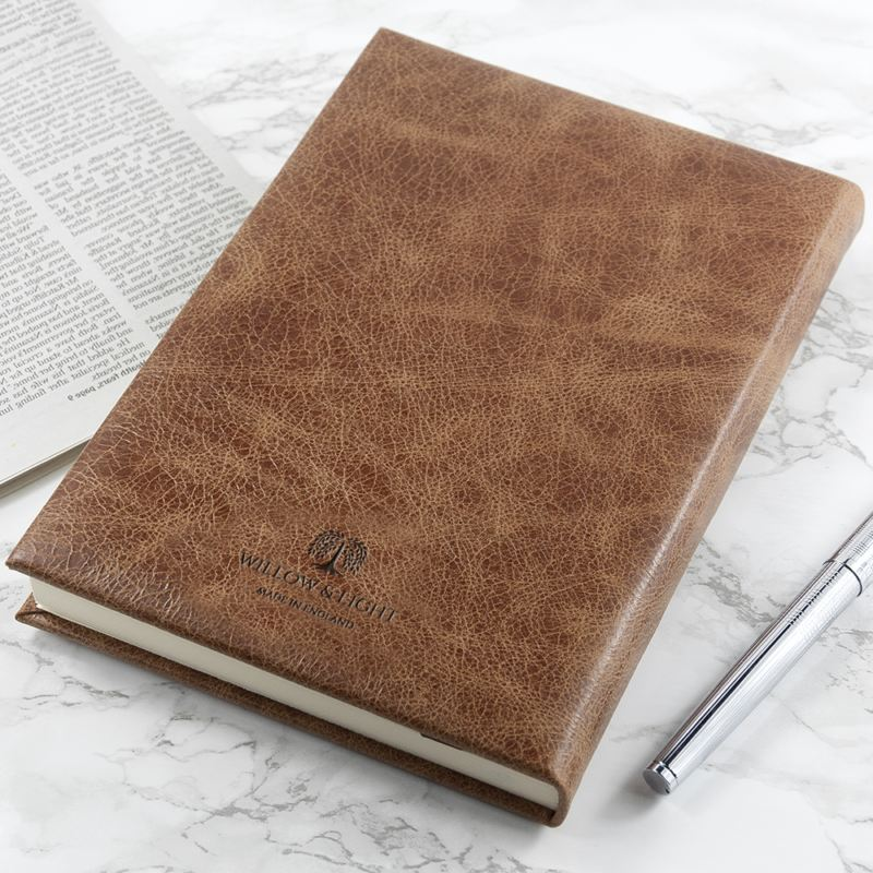 Engraved Natural Tan Leather Notebook product image