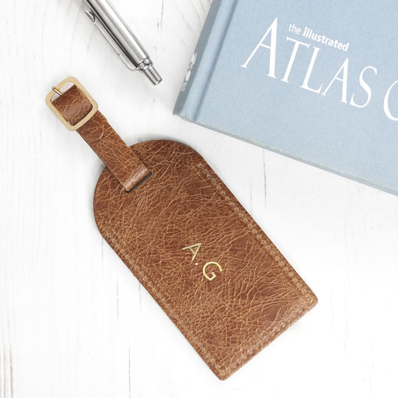 Personalised Natural Tan Foiled Leather Luggage Tag product image