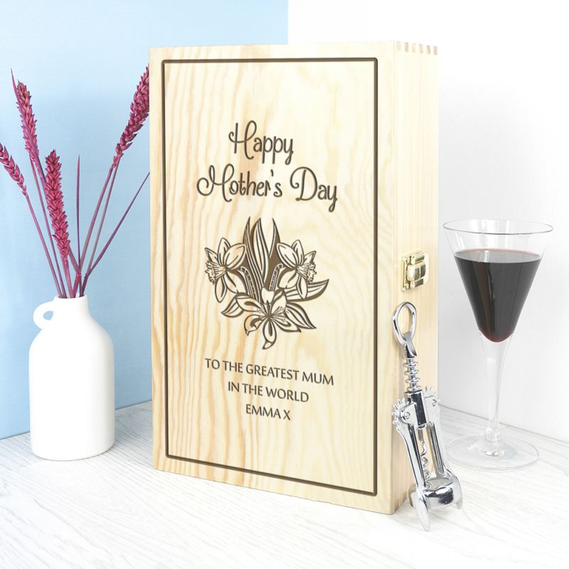 Personalised Floral Mother's Day Wine Box product image