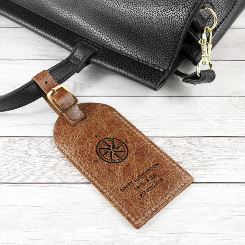 Personalised Natural Tan Engraved Leather Luggage Tag product image