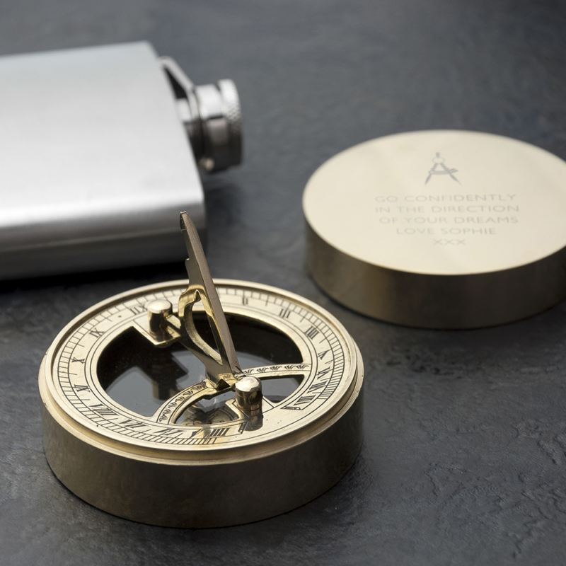 Engraved Iconic Adventurer's Sundial Compass product image
