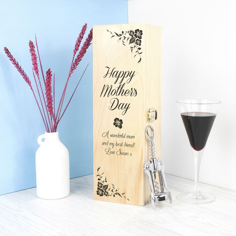 Mother's Day Wine Box With Floral Corners product image