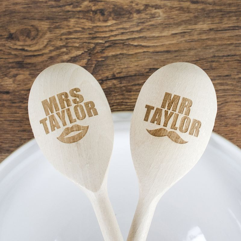Personalised Mr and Mrs Wooden Spoons product image