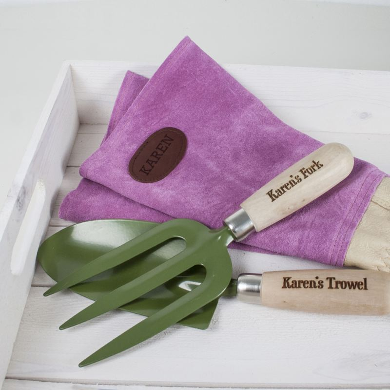 Pink Leather Personalised Gardening Gloves product image