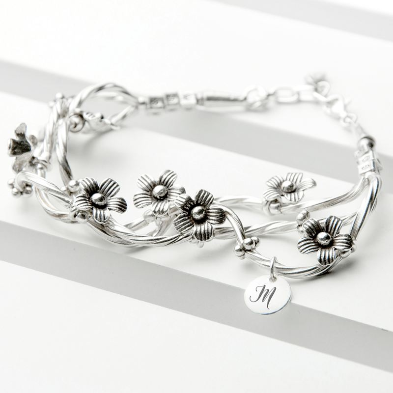 Engraved Fine Silver Forget Me Knot Bracelet product image