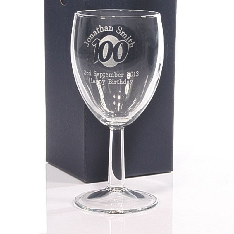 Personalised 100th Birthday Wine Glass product image