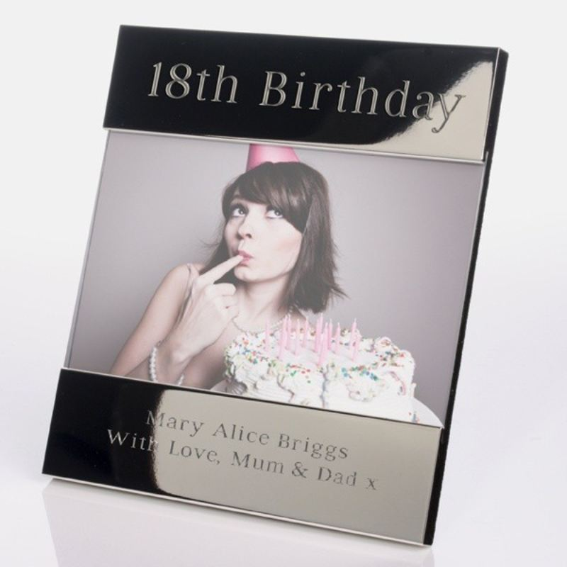 Personalised 18th Birthday Shiny Silver Photo Frame product image