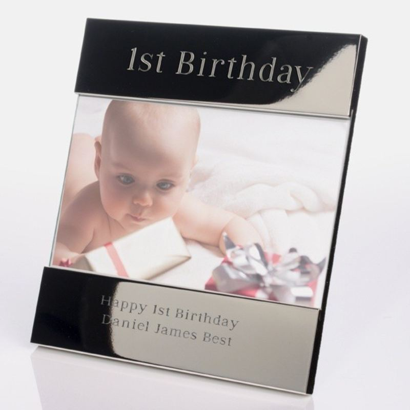 Personalised 1st Birthday Shiny Silver Photo Frame product image
