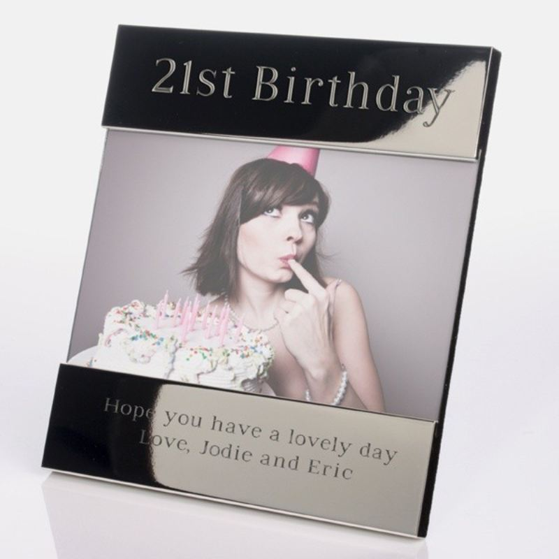 Personalised 21st Birthday Shiny Silver Photo Frame product image