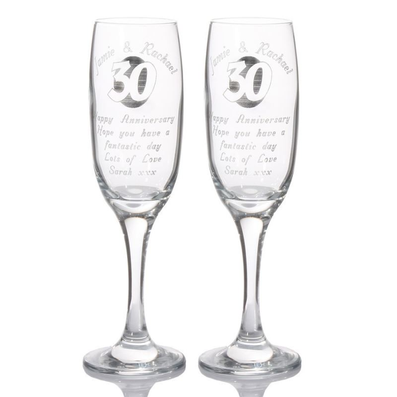 Personalised 30th Anniversary Champagne Flutes product image