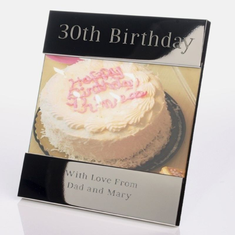 Personalised 30th Birthday Shiny Silver Photo Frame product image