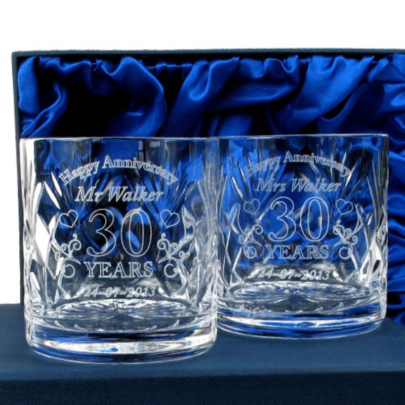 Personalised 30th Wedding Anniversary Whisky Glasses The