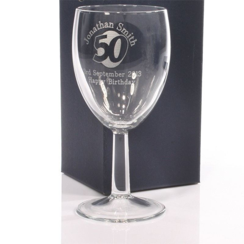 Personalised 50th Birthday Wine Glass product image