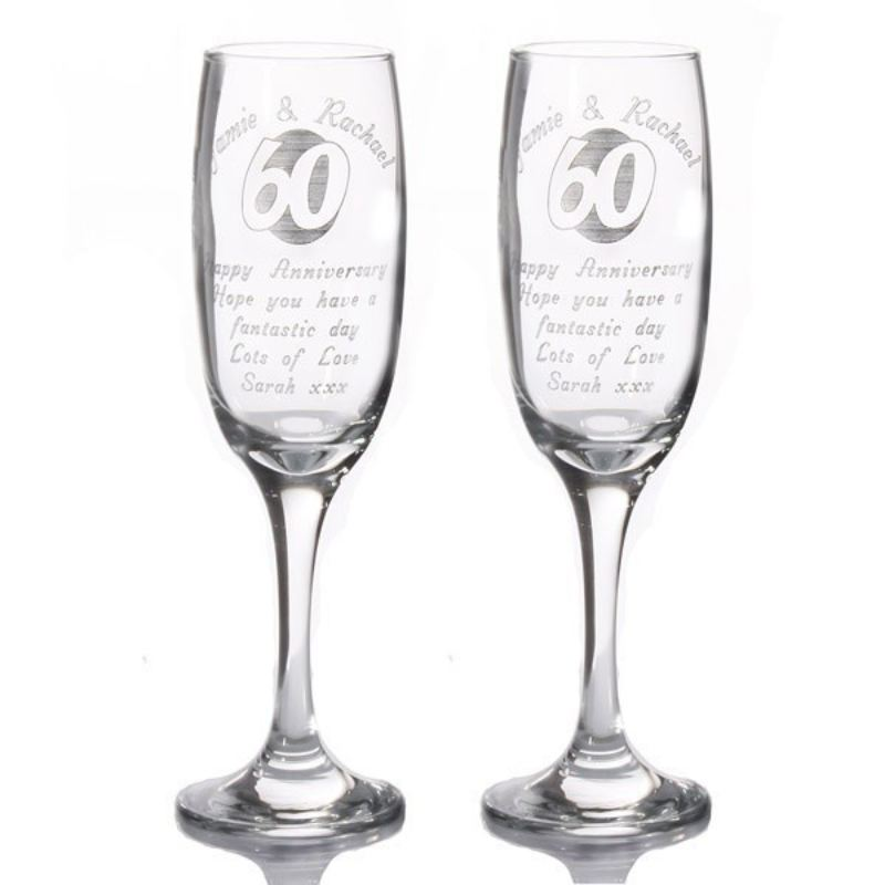 Personalised 60th Anniversary Champagne Flutes product image